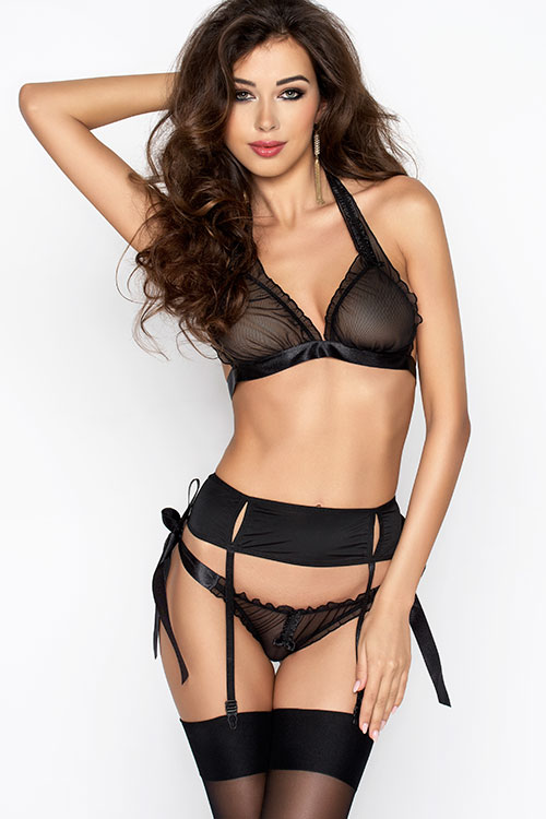 Lingerie - Passion Erotic Ulla Bra with Garter & Panty