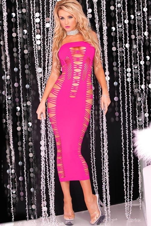 Lingerie - Pink Lipstick Seamless Bodystocking Dress