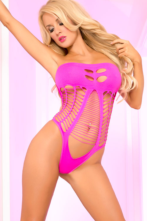 Lingerie - Pink Lipstick Seamless Bodystocking Teddy