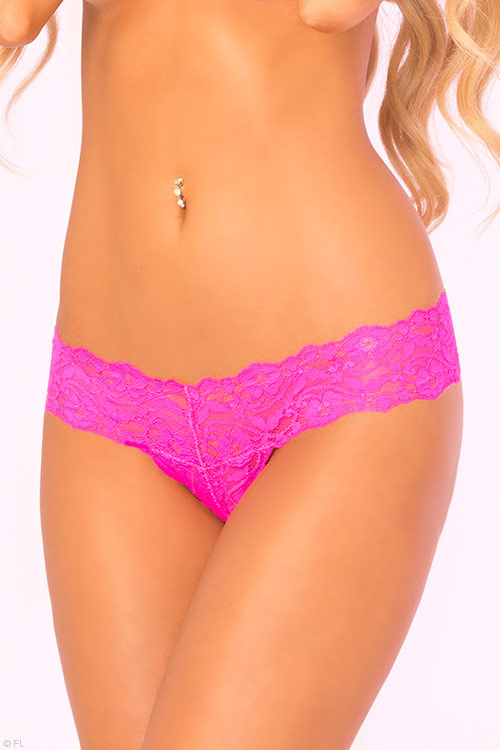Lingerie - Pink Lipstick Lace Thong