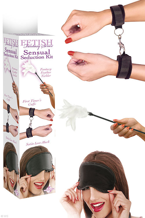 Hand Cuffs, Feather Tickler & Eye Mask Seduction Kit