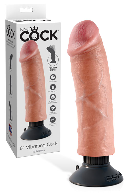 "8"" Realistic Vibrating Cock with Removable Suction Cup Base"