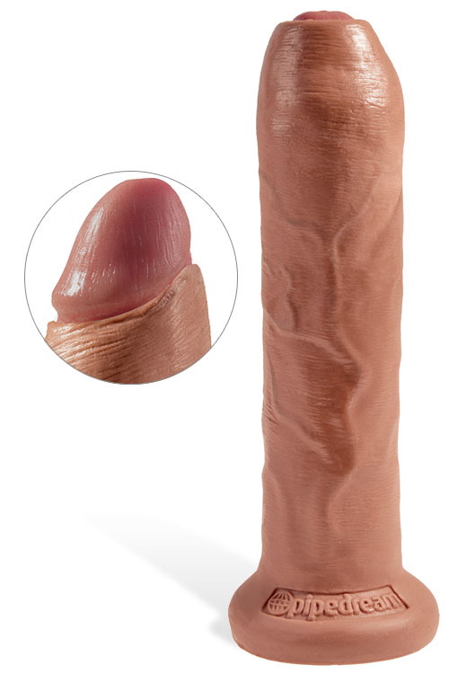 "7"" Realistic Uncut Dildo with Sliding Foreskin & Suction Base"