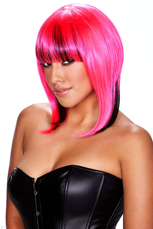Lingerie - Pleasure Wigs Belladonna Wig - Pink/Black