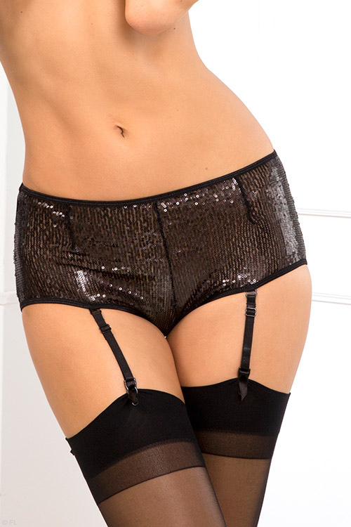 Lingerie - Rene Rofe Lace with Sequin High Waist Panty