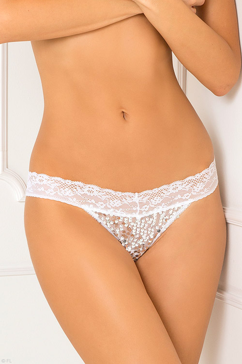Lingerie - Rene Rofe Lace with Sequin Thong