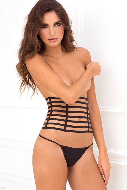 Lingerie - Rene Rofe Strappy Waspie with G-String