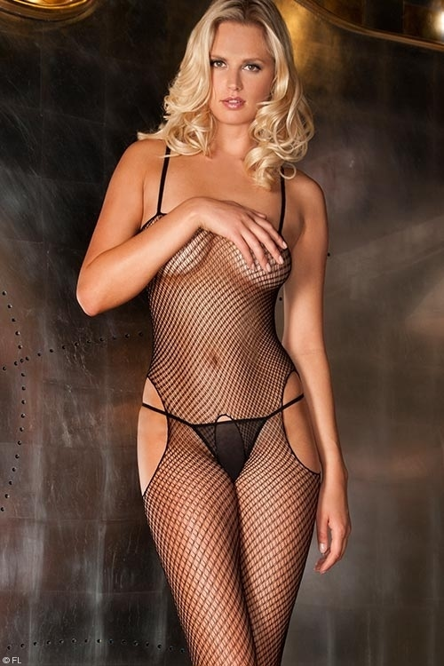 Lingerie - Rene Rofe Crotchless Double-Fishnet Bodystocking