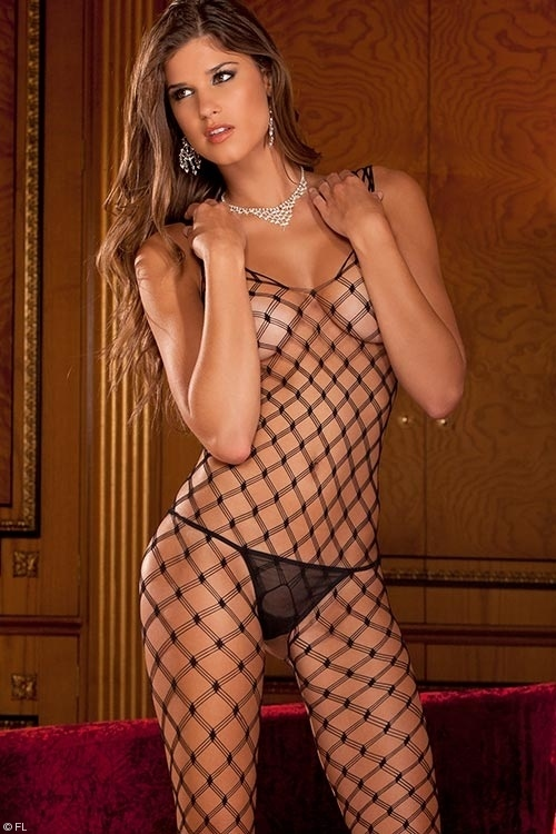 Lingerie - Rene Rofe Diamond Net Bodystocking