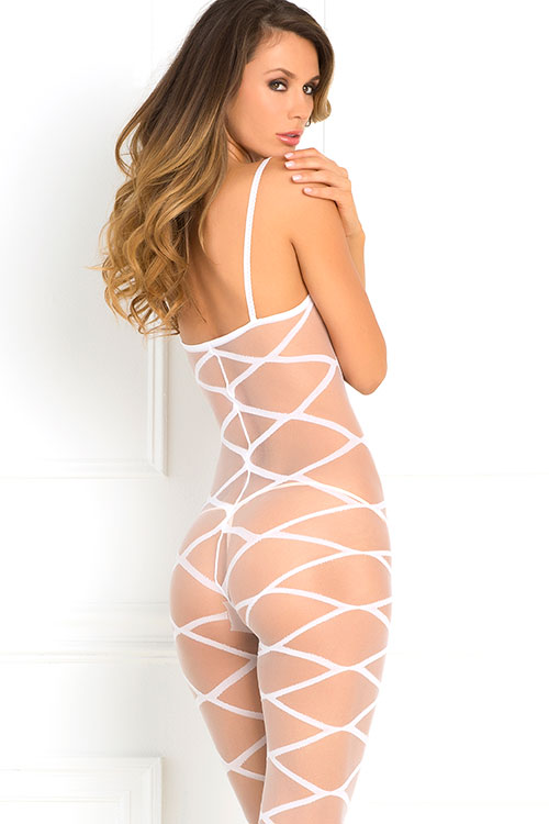 Lingerie - Rene Rofe Geometic Pattern Bodystocking