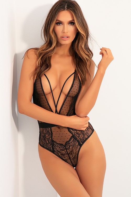 Low Key Black Lace & Mesh Plunging Teddy