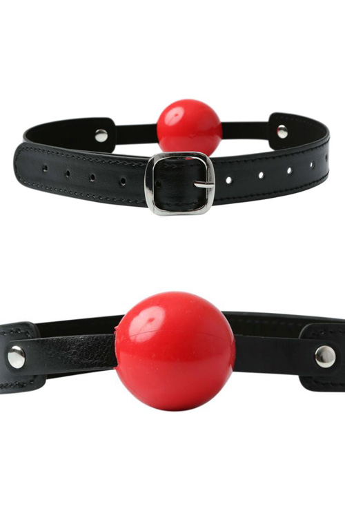 "Rubber 1.5"" Ball Gag with Leather-Look Strap"