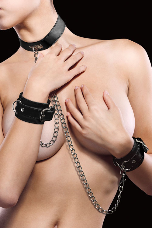Bondage - Shots Toys Premium Leather Collar & Cuff Set