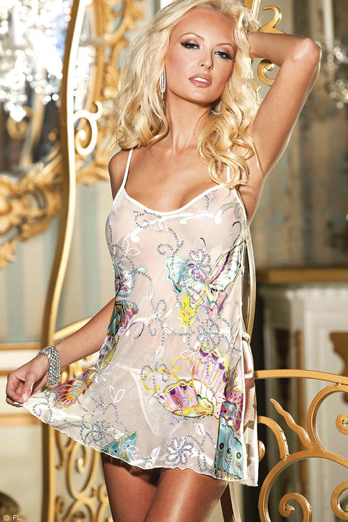 Shirley Of Hollywood Butterfly Print Silk Chemise with G-String
