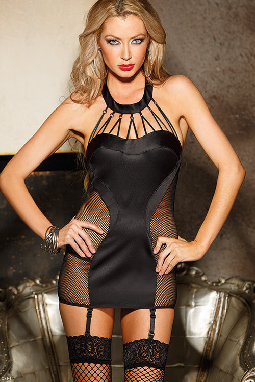 Lingerie - Shirley Of Hollywood Satin Chemise with G-String