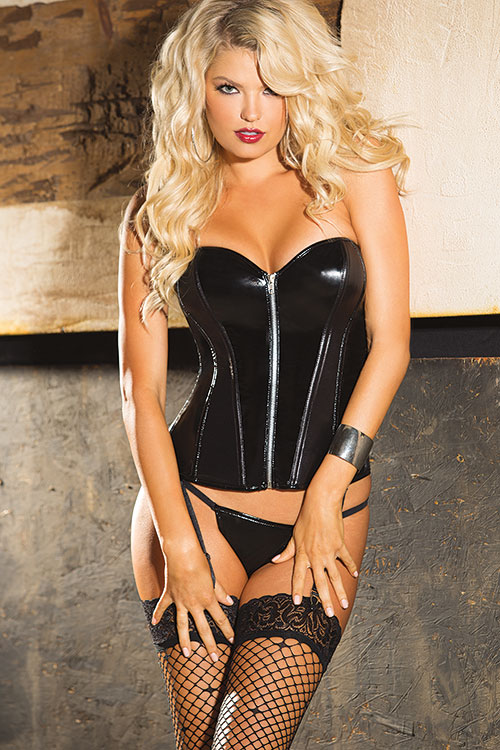 Lingerie - Shirley Of Hollywood Vinyl Corset with G-String