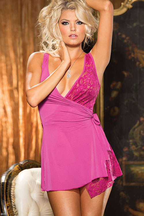 Lingerie - Shirley Of Hollywood Wrap-Around Babydoll with G-String