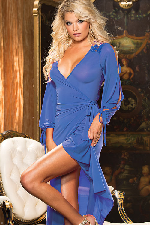 Lingerie - Shirley Of Hollywood Wrap-Around Gown with G-String
