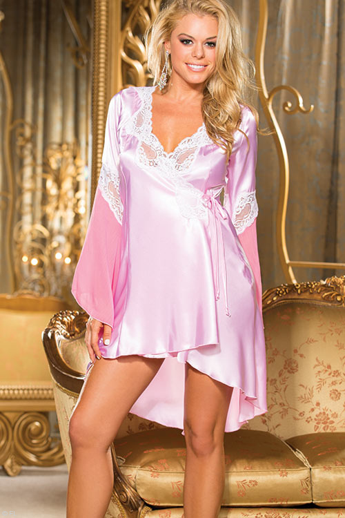 Lingerie - Shirley Of Hollywood Charmeuse & Lace Robe