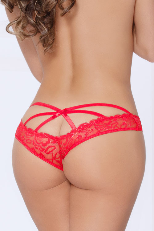 Red Crotchless Caged Panty