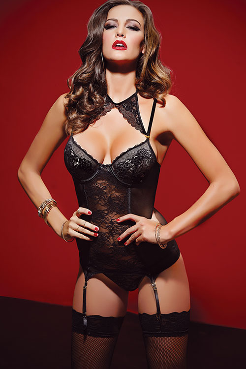 Lingerie - Seven Til Midnight Lacy Bustier with Thong