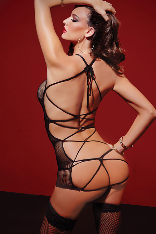 Lingerie - Seven Til Midnight Fishnet Chemise with Thong & Satin Entangle Tie