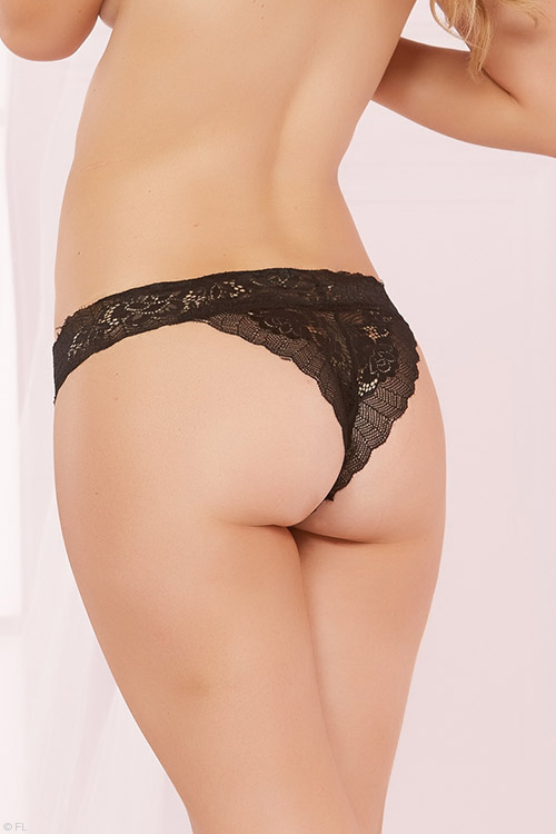 Lingerie - Seven Til Midnight Rose Lace Open Crotch Thong