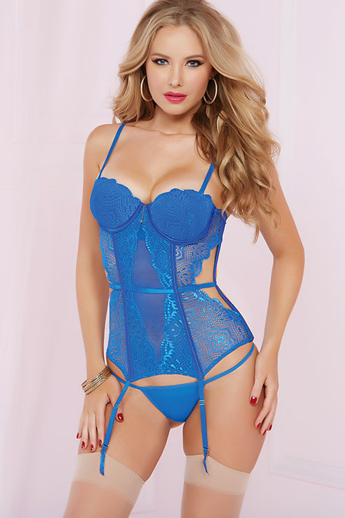 Lingerie - Seven Til Midnight Royal Bustier Set