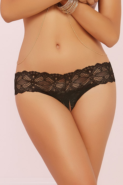 Lingerie - Seven Til Midnight Lace Open Crotch Thong