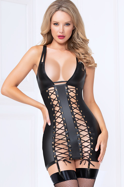Bold Lustre Wet-Look Lace-Up Chemise with G-String