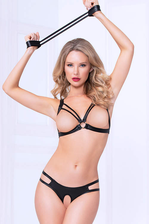 Bold Lustre Open-Cup Bra with Crotchless Thong & Cuffs
